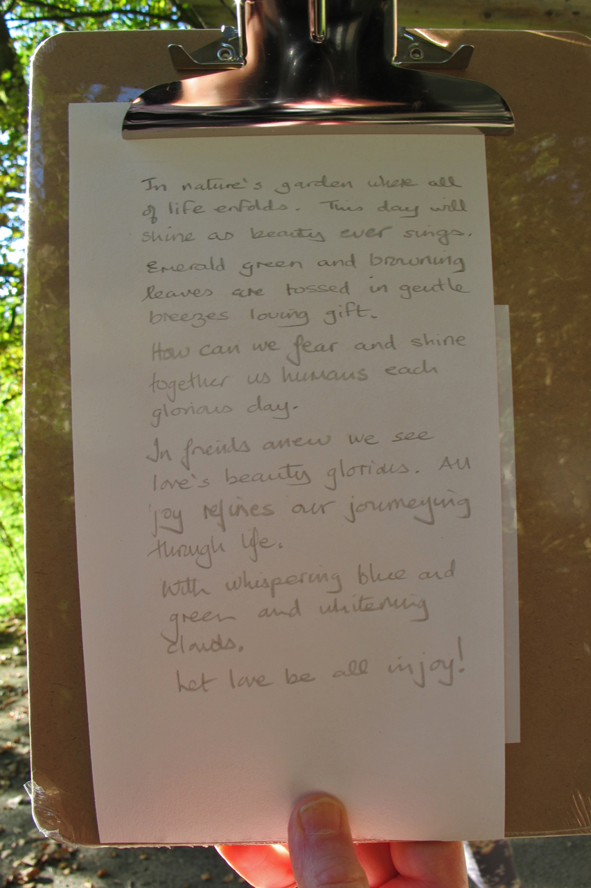 The poem by John Hetherington created during the Grizedale session